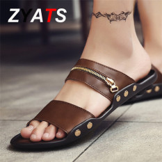 ZYATS 2017 New Summer Men Fashion Beach Shoes Leather Slippers for Men Lelaki Sandals Brown