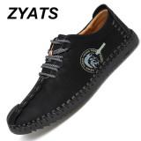 Spesifikasi Zyats Kulit Men S Flats Sepatu Moccasin Casual Loafers Besar Ukuran 38 46 Hitam Zyats