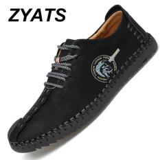 Beli Zyats Kulit Men S Flats Sepatu Moccasin Casual Loafers Besar Ukuran 38 46 Hitam Cicilan