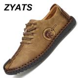 Jual Zyats Kulit Men S Flats Sepatu Moccasin Casual Loafers Besar Ukuran 38 46 Khaki Di Tiongkok
