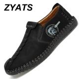 Promo Zyats Kulit Men S Flats Sepatu Moccasin Casual Loafers Slip On Besar Ukuran 38 46 Hitam Akhir Tahun
