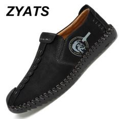 Zyats Kulit Men S Flats Sepatu Moccasin Casual Loafers Slip On Besar Ukuran 38 46 Hitam Zyats Diskon 40