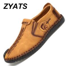 ZYATS Kulit Men's Flats Sepatu Moccasin Casual Loafers Slip-On Besar Ukuran 38-46 Kuning