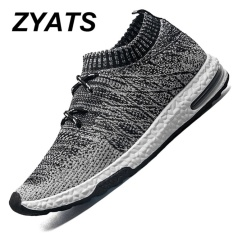 ZYATS Pria LACE UP Menjalankan Sepatu untuk Outdoor Sport Air Mesh Bernapas Sneakers Super Light Redaman Air Sepatu Hitam