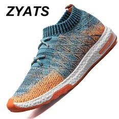 ZYATS Pria LACE UP Menjalankan Sepatu untuk Outdoor Sport Air Mesh Bernapas Sneakers Super Light Redaman