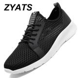 Beli Zyats Pria Sneakers 2017 Pria Berlari Sepatu Tren A Olahraga Mesh Sepatu Bernapas Pelatih Sneakers Hitam Cicilan