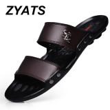 Diskon Zyats Musim Panas Sandal Pria Sepatu Pantai Fashion Sandal Kulit Untuk Pria Lelaki Sandal Coklat Akhir Tahun