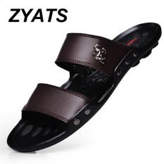 ZYATS Musim Panas Sandal Pria Sepatu Pantai Fashion Sandal Kulit untuk Pria Lelaki Sandal Coklat