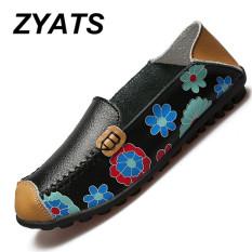 ZYATS Wanita Fashion Formal Kulit Sepatu Tempat Kerja Kapal Rekreasi Sepatu & Loafer Besar Ukuran 35-44 Hitam