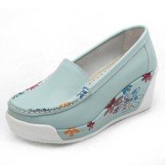 Beli Zysk Wanita Menutup Ujung Sepatu Wedge Biru Muda Z608125 Murah