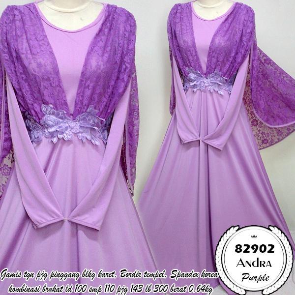 dress tunangan andra purple 82902