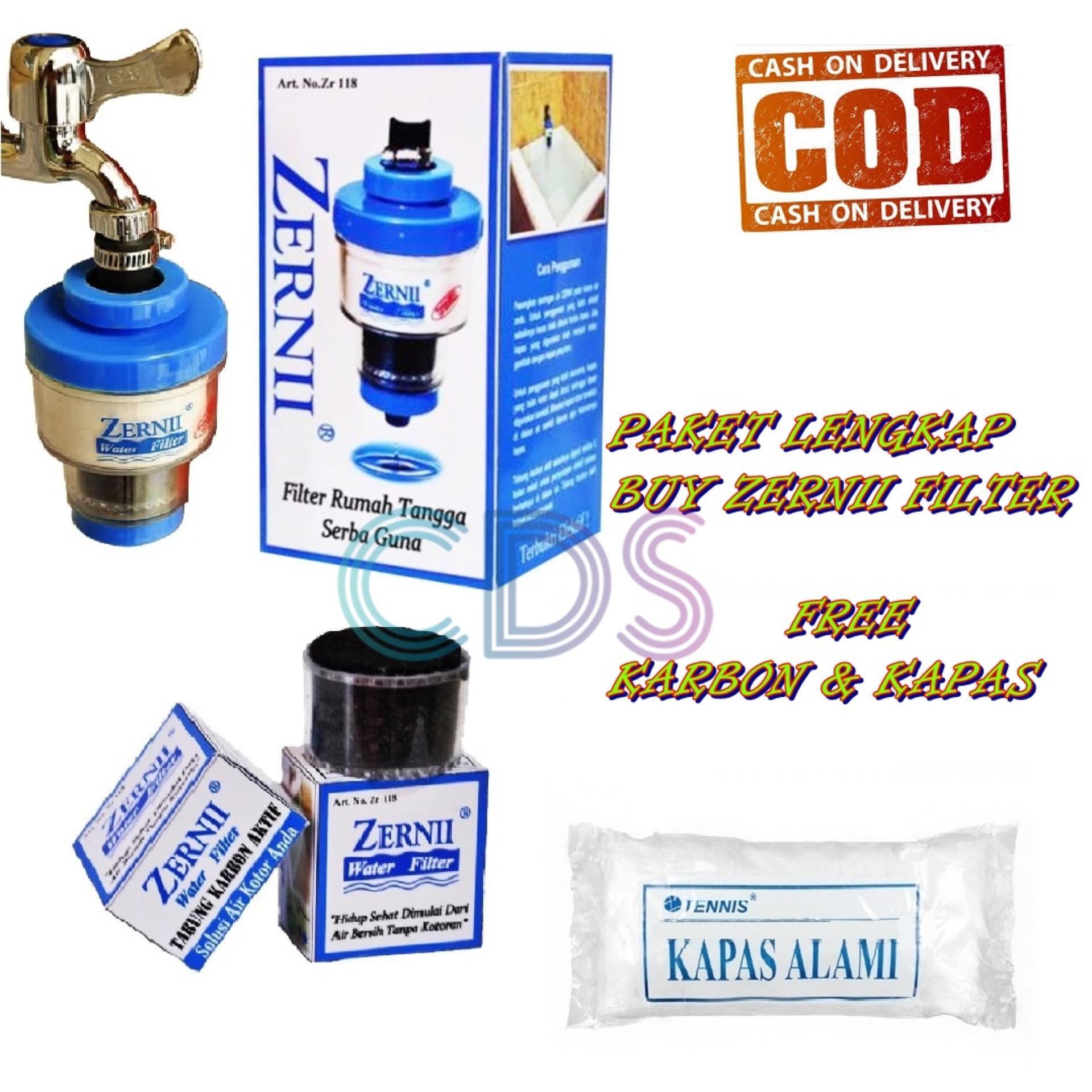 Paket BESAR LENGKAP Zernii Water Filter + Carbon / Karbon + Kapas Saringan Zernii Filter Air
