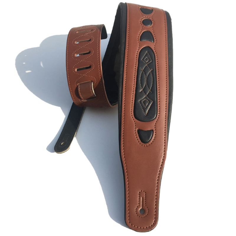 Leather Real Cowhide Guitar Strap for Electric Bass Guitar Adjustable Padded Browm Color