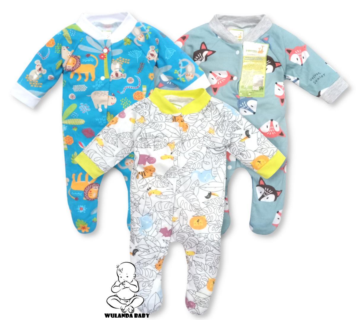 Wulanda 3 Pcs Baju Kodok Slipsweet Rompers Overall Anak Bayi Velvet Tutup Kaki By Wulanda Baby.
