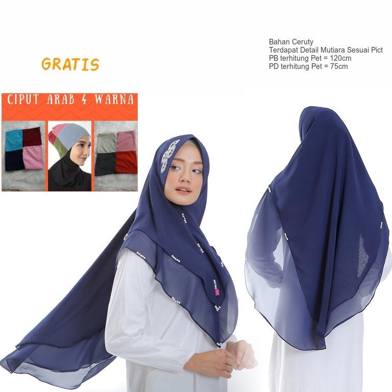 Khimar Instan Pet Antem Ceruty Ceruti 2 (Dua) Layer Mutiara Untuk Pesta Hijab Bergo Jilbab  - tukiyem13