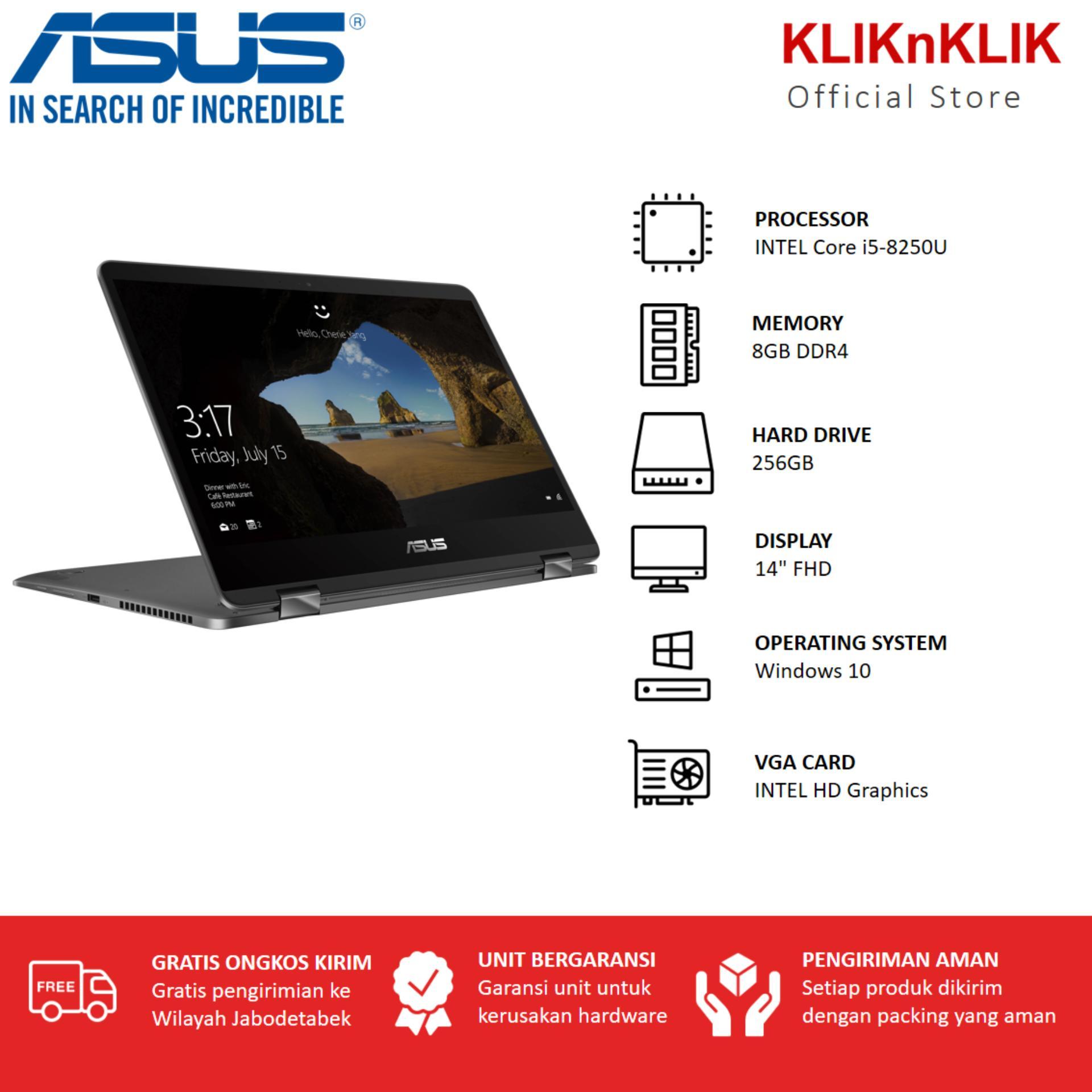 ASUS ZenBook Flip 14 UX461UA-8250U-8GB-256GBWin10 - Abu Abu