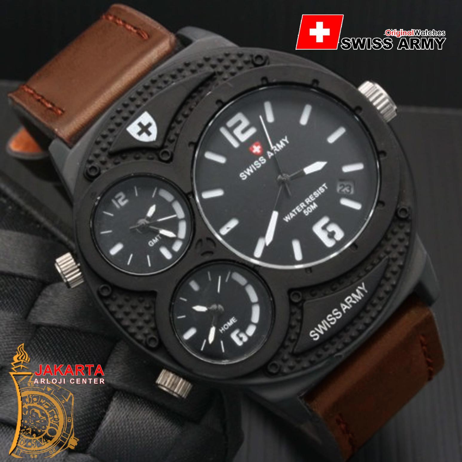 Swiss Army Triple Time - Jam Tangan Pria - Tali Kulit - Tanggal Aktif - Jam