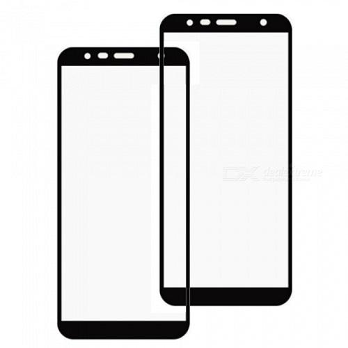 Tempered Glass Warna Anti Gores Kaca Screen Protector Full Cover Layar 5D Samsung Galaxy J4 Plus + New 2018 Hitam Black - Packing Mica