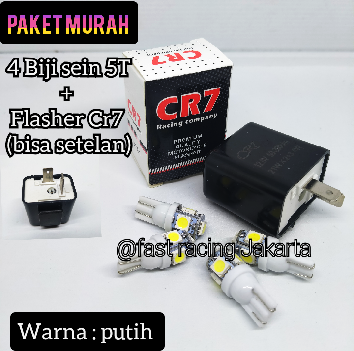 Lampu Sen Motor Jagung LED 5 Mata T10 + FLASHER CR7 - putih
