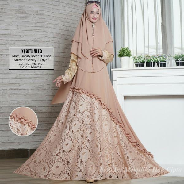 Gamis Syari Aira - Baju Muslim Murah Terbaru 2018 Grosir Pakaian Wanita Busana Pesta Modern Maxidre