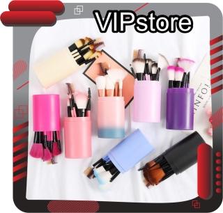 VIPstore - R034 Brush Set Tube Kuas Rias Make Up 12 Pcs Kuas Make Up Foundation Brush Free Tabung thumbnail