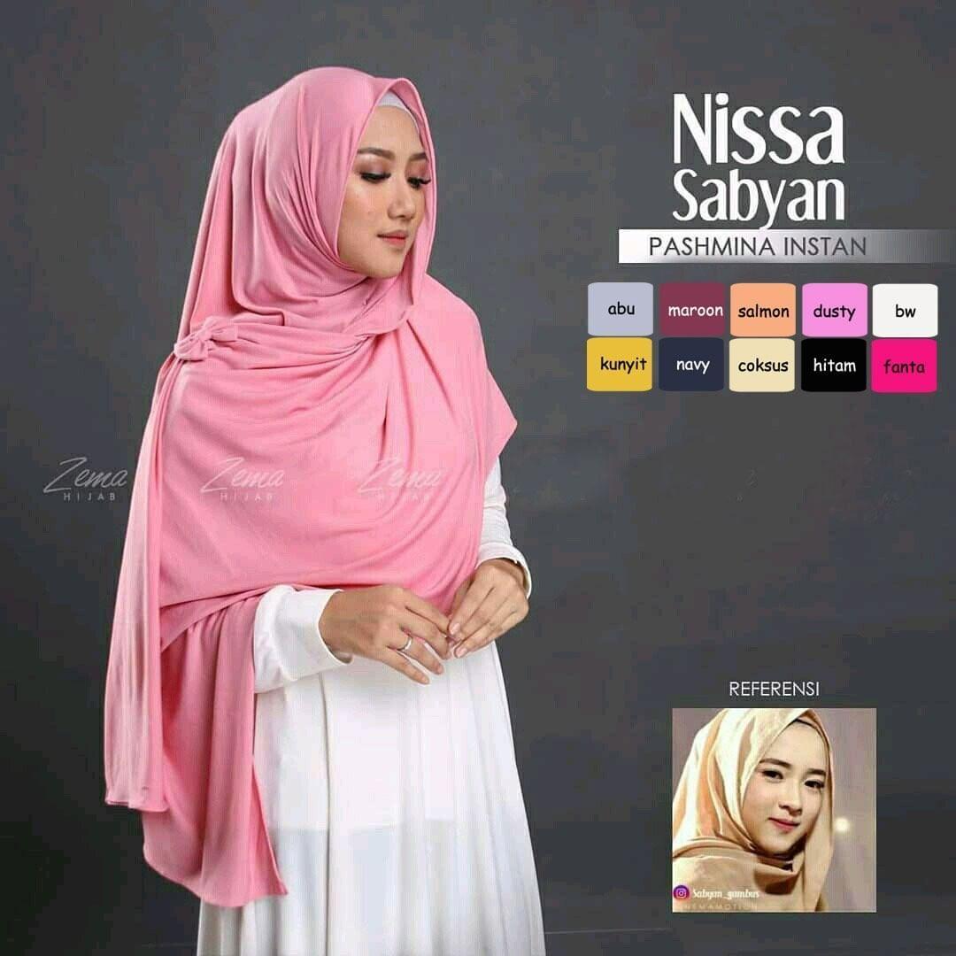 New Nisa Sabyan Pashmina Instan Khimar Jumbo/ Khimar Polos/ Jilbab Khimar Pet/ Sifon Crepe