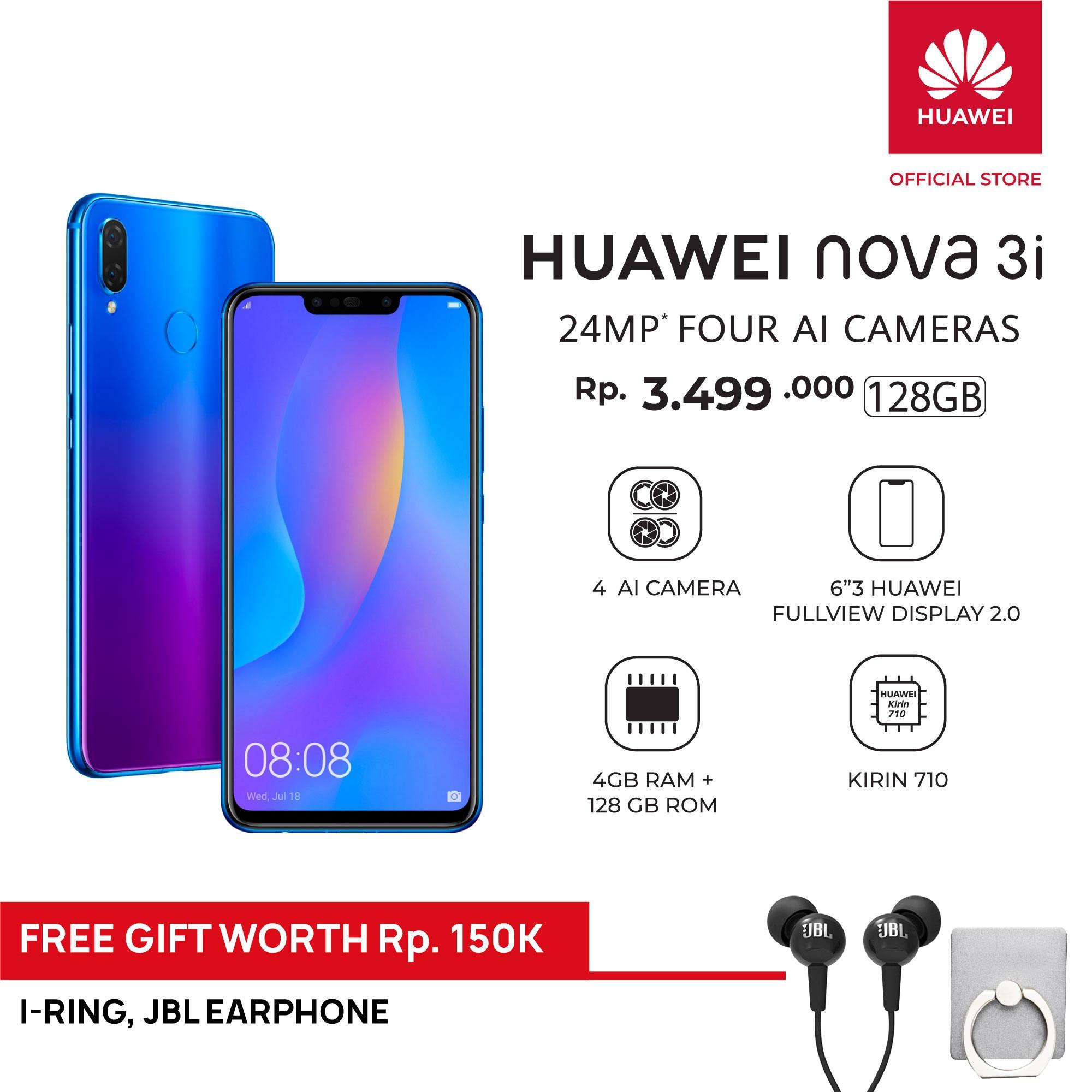 Huawei Nova 3i 4GB/128GB Free JBL Earphone & I-ring