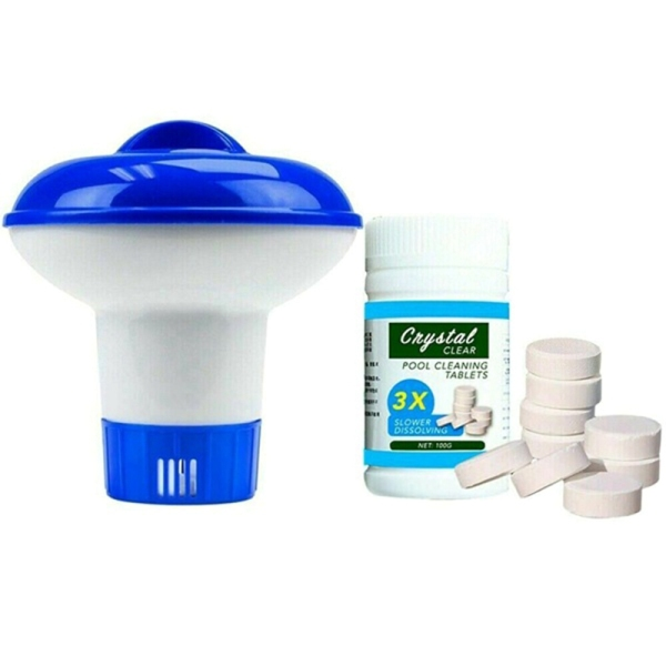 Large Capacity Adjustable Floating Chlorine Dispenser Box for Outdoor Swimming Pools Effervescent Tablets Cleaner Set