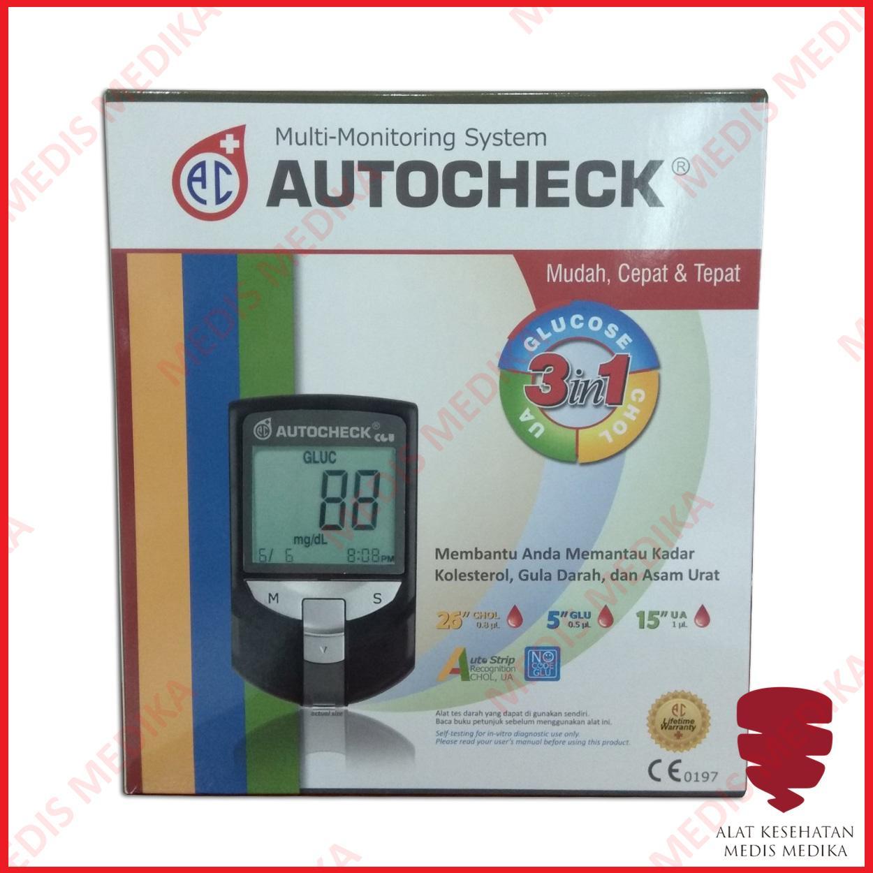 Autocheck 3 in 1 alat Test Glucose Cholesterol Uric Acid GCU