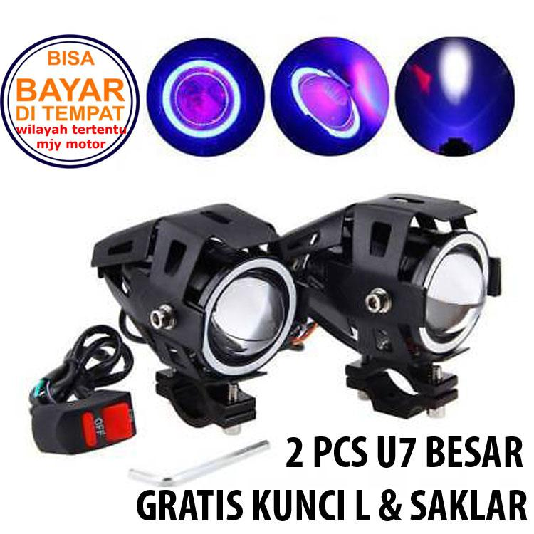 Lampu Motor 2 Pcs Led Cree U7 Transformer Lampu Sorot Free Saklar Stang By Mjy Motor.