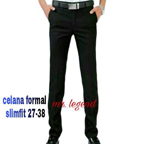 Mr. Legend celana formal hitam slimfit  celana kantor slimfit  celana kerja  hitam slimfit fca6015133