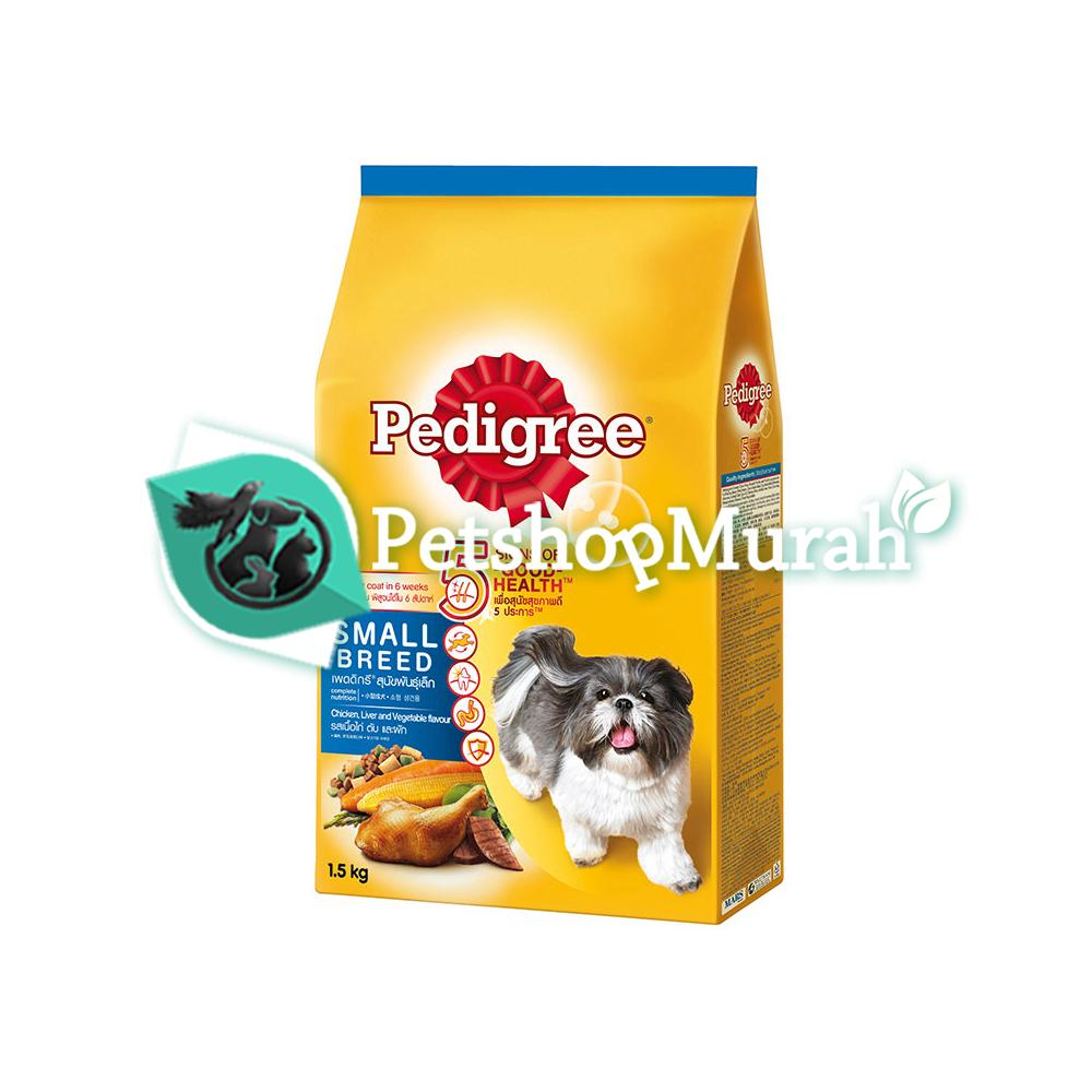 Makanan Anjing Pedigree Small Breed Chicken , Liver And Vegetables 1,5 Kg / Dryfood Pedigre Ras Kecil 1,5kg By P.s.m.