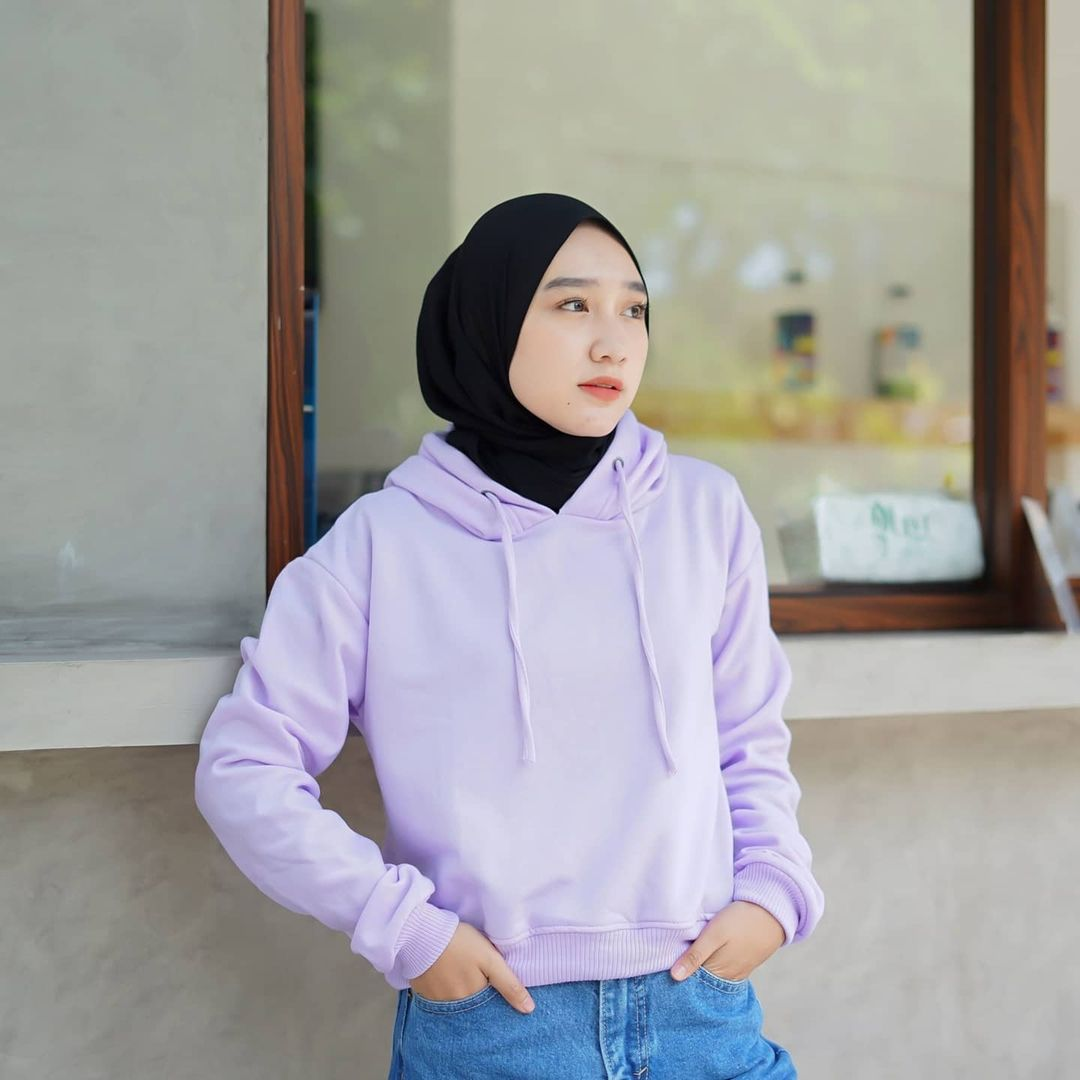 Xiveria Best Seller Sweater Hoodie Lilac Hoodie Crop Oversize Bahan Fleece Lilac Hoodie Oversize Wanita Hoodie Distro Murah Sweater Warna Lilac Hoodie Wanita Kekinian Crop