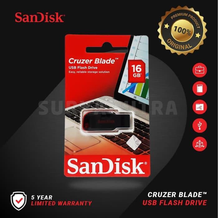 Flashdisk Sandisk 16gb Original Cruzer Blade Cz50 / Cz 50 By Surya Mitra Online.