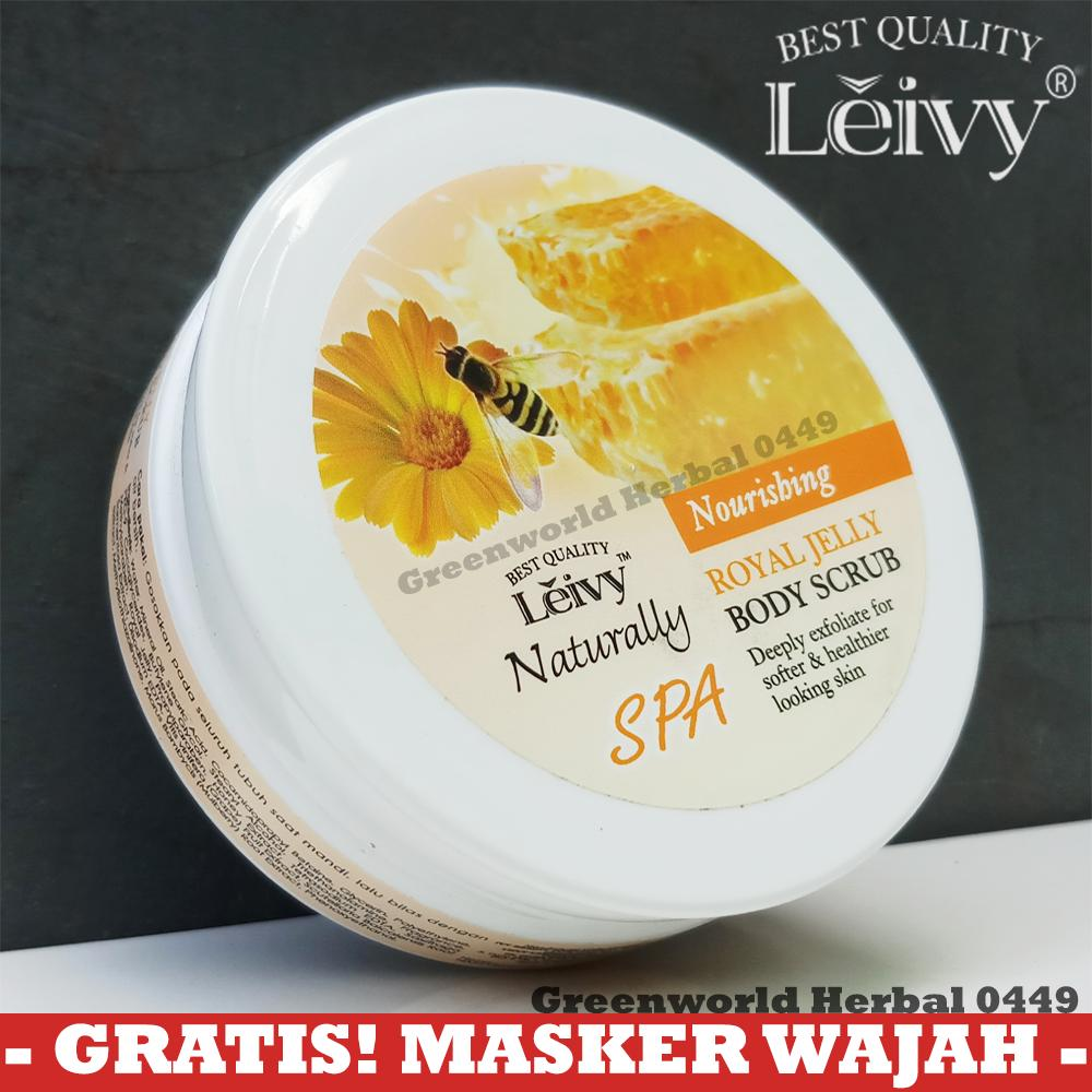Leivy Body Scrub Royal Jelly - Original - 100 Gram - Bpom - Lulur Pemutih Badan - Lulur Mandi - Body Spa By Greenworld Herbal 0449.