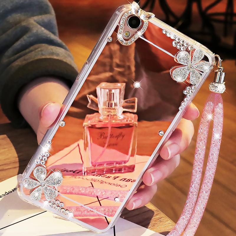 Oppo a37 Casing HP Model Wanita a37t Silikon Cermin oppo dengan tali gantung anti jatuh sampul lunak batu kristal air opopA37 pelindung 0pp0a set a37m kepribadian oppo a kreatif oqqoa pasang OPa Korea Selatan