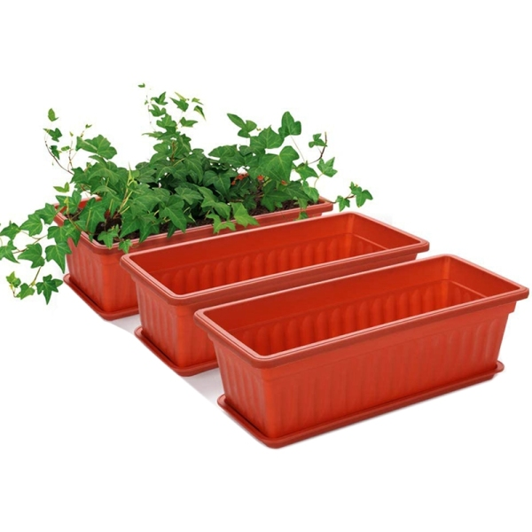 3 Packs 17 Inches Terracotta Color Flower Window Box Plastic Planters , for Windowsill, Patio, Garden, Home DéCor, Porch