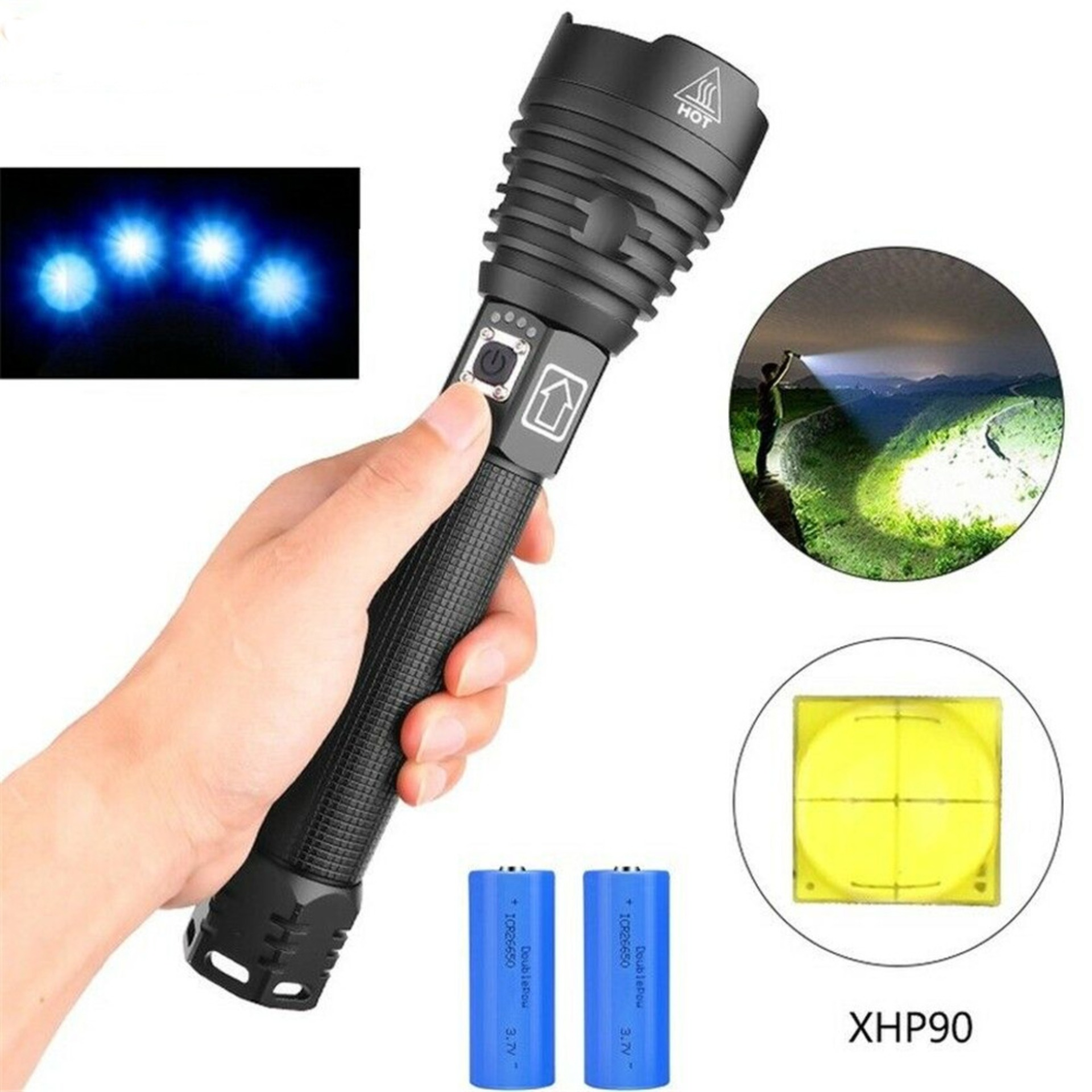 XHP 90 Rechargeable 120000 lumens xhp70.2 Most Powerful LED Flashlight USB Zoom Torch*