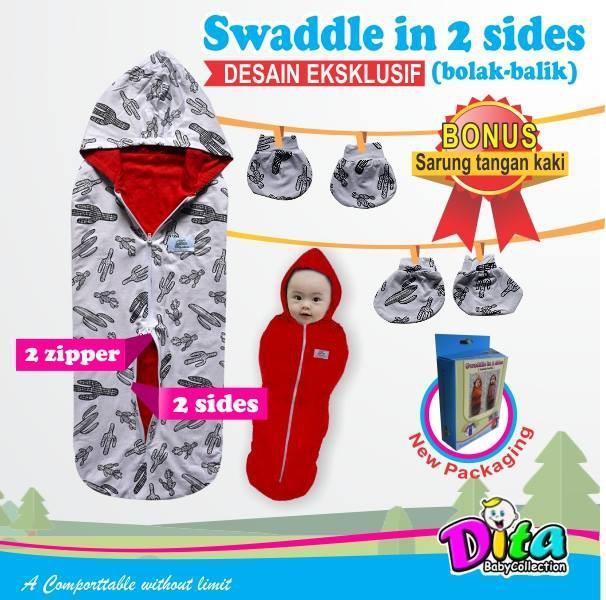 Dita Baby Collection - Bedong Instan Bolak Balik + Sarung Tangan & Sarung Kaki Motif Bedong