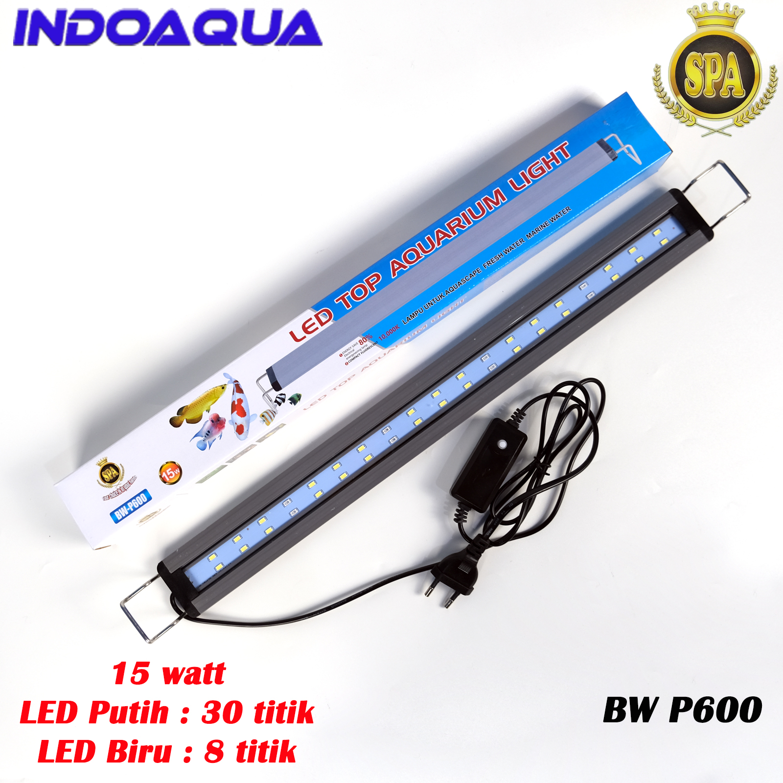 INDOAQUA - Lampu LED Aquarium For Tank 50 60 cm Lampu Aquascape Murah Lampu Aquarium Biru Putih