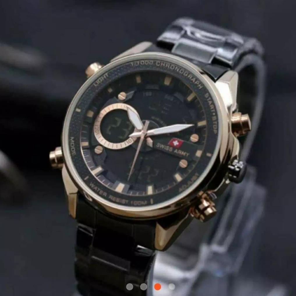 Swiss Army Dual Time Jam Tangan Pria Tali Rantai Murah & Berkwalitas