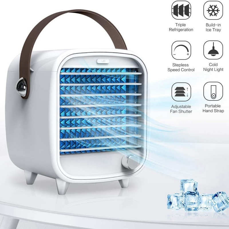 Portable Air Conditioner, USB Rechargeable Portable Mini Cooling Fan with 7x Night Light and 2x Ice Box for Home Office