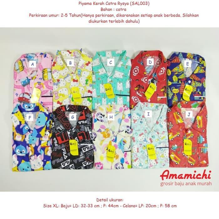 Piyama Kerah Rysya Catra Anak Setelan Stelan Baju Perempuan LakiSAL003 /  Baju Setelan Anak