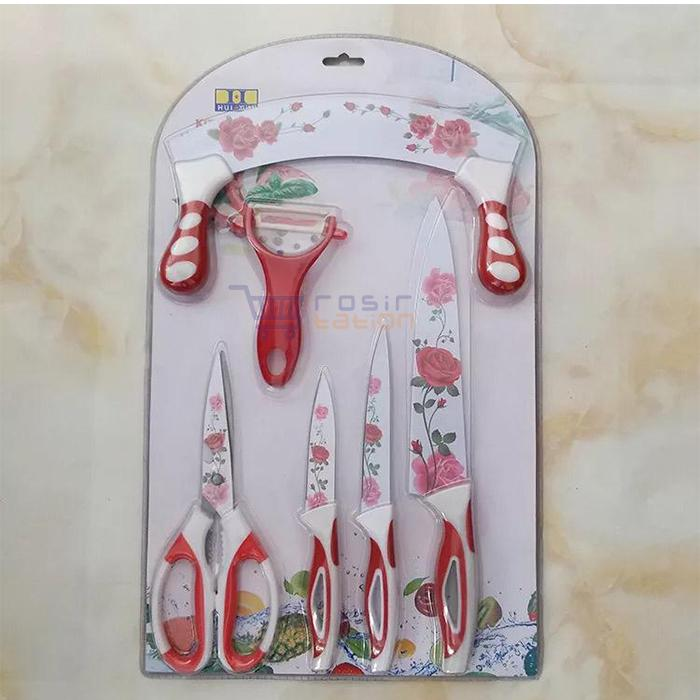 Pisau Dapur Set Keramik / Pisau Keramik Set / Ceramic Knife Set 6in1 + Gunting By Grosirstation.