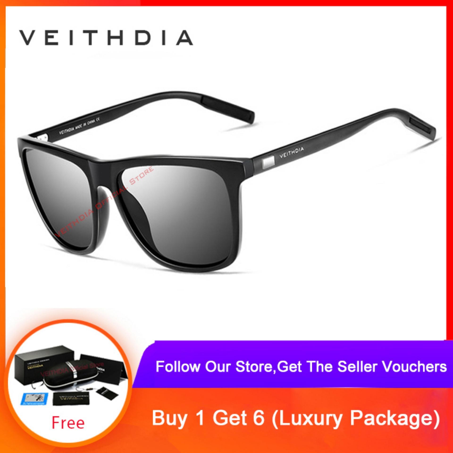 Cod+pengiriman Gratis Veithdia Kacamata Hitam Tr90 Retro Lensa Polarisasi Bermerek Untuk Pria/wanita 6108 By Veithdia Official Store.