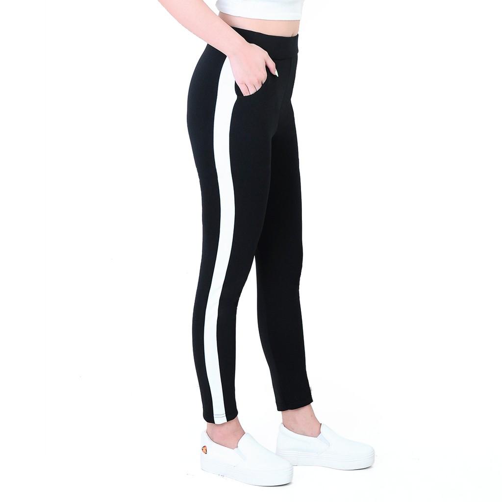 Celana Hitam Plat Celana Wanita Lis Putih Celana Legging Celana Stret Lazada Indonesia
