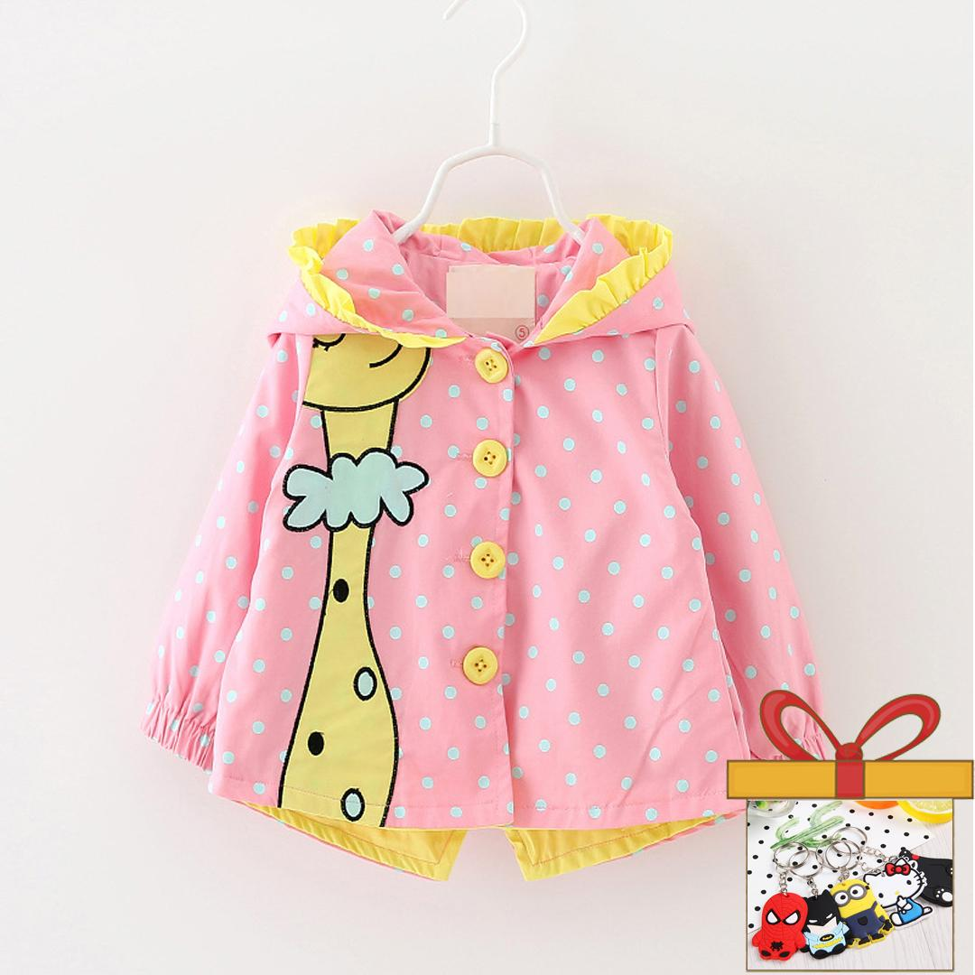 Anak Perempuan Musim Gugur Mantel Pakaian Bayi Perempuan Fashion Kartun Titik Berkerudung Jas Hujan 1-3 Tahun-Intl By Skuv.