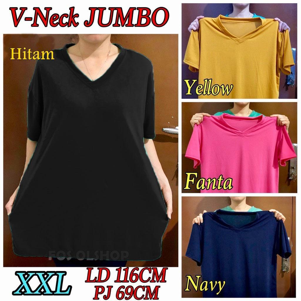 Kaos Jumbo XXL Tshirt V-neck / ATASAN BIG SIZE / OBLONG WANITA UKURAN BESAR