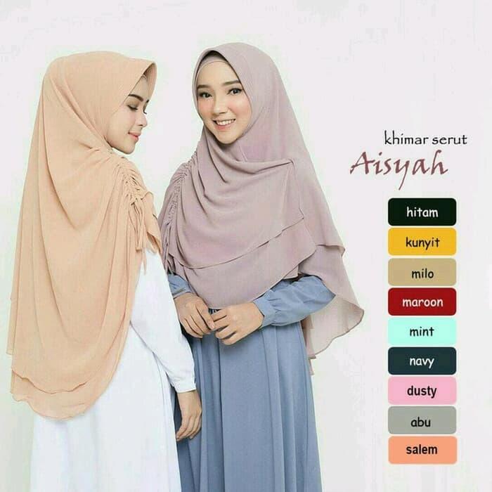 Hijab Khimar Aisyah Serut Jilbab Kerudung Instan
