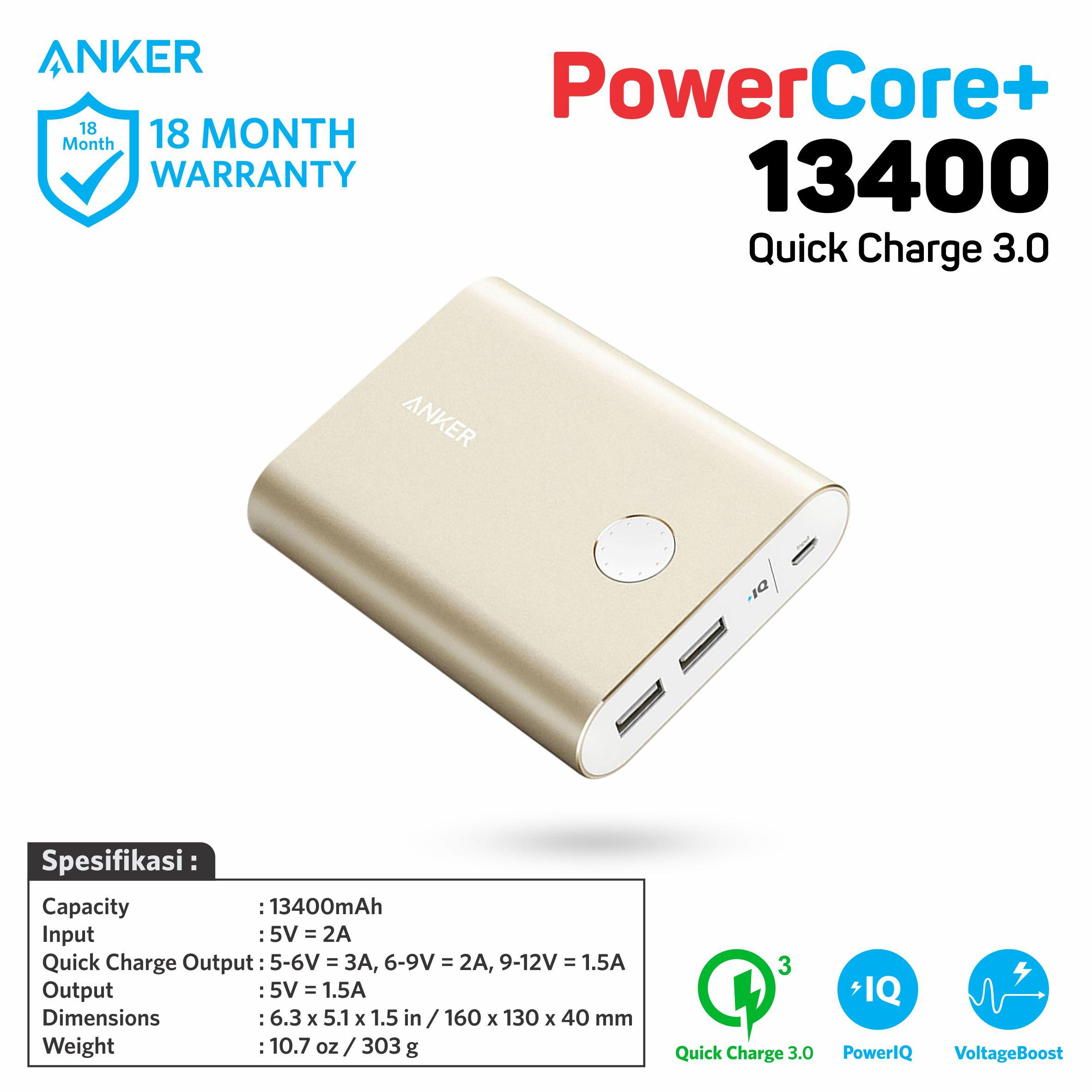 PowerBank Anker PowerCore+ 13400 Quick Charge 3.0 - A1316 Gold